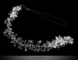 Estella Flower Spray Silver Headband | Swarovski Crystal - Beloved Sparkles  - 3