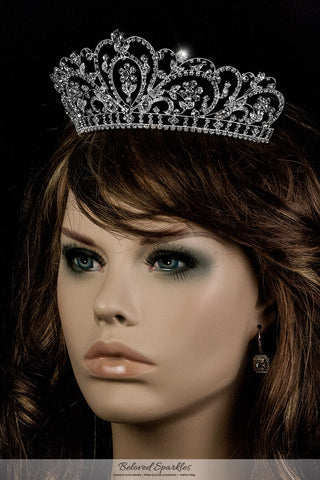 Lorelei Royal Statement Silver Tiara | Swarovski Crystal - Beloved Sparkles  - 4