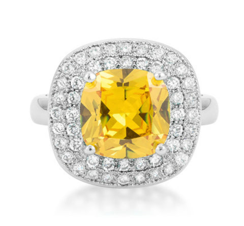 Blair Canary Yellow Cushion Cut Cocktail Ring | 5 Carat | Cubic Zirconia - Beloved Sparkles