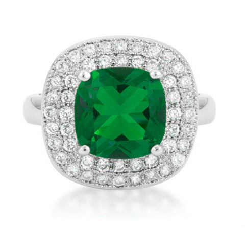 Blair Emerald Green Cushion Cut Cocktail Ring | 5 Carat | 3 Carat | Cubic Zirconia - Beloved Sparkles  - 3