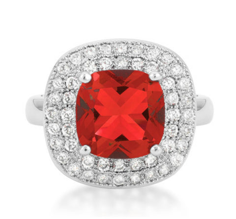 Blair Ruby Red Cushion Cut Cocktail Ring | 5 Carat | Cubic Zirconia - Beloved Sparkles