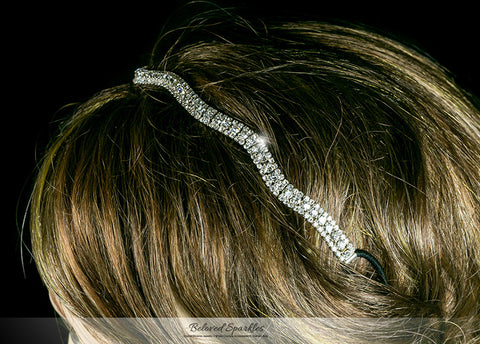 Rita Wavy Rhinestone Stretch Headband | Rhinestone - Beloved Sparkles  - 3
