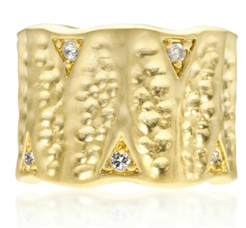Emilia Textured Matte Golden Eternity Ring | 0.5ct | Cubic Zirconia | 18k Gold - Beloved Sparkles  - 3