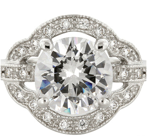 Emma Vintage 2(ct) Round Engagement Ring | 4.5ct