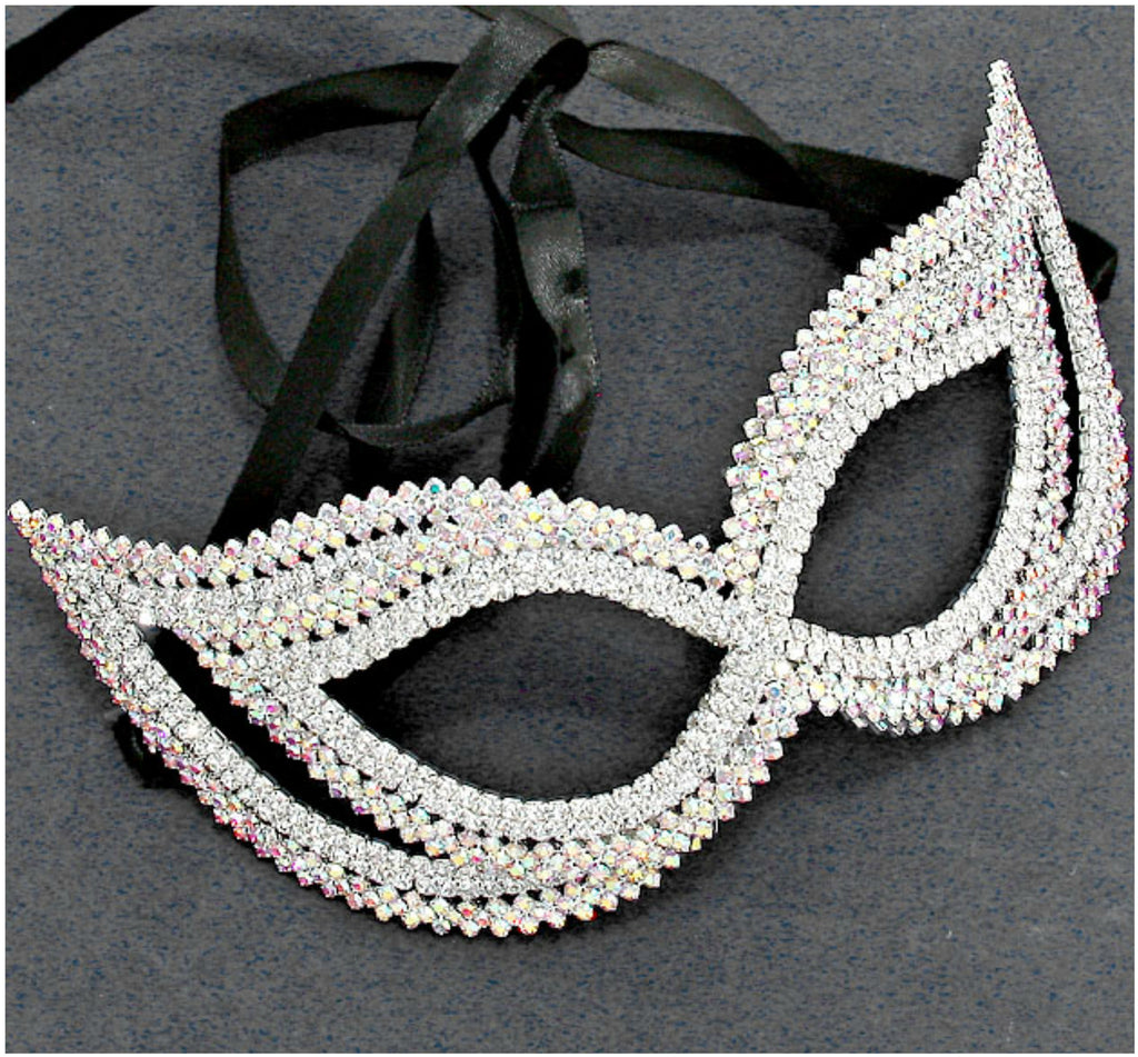 Frances Double Cluster Cat Eye Crystal Silver Masquerade Mask. - Beloved Sparkles  - 3