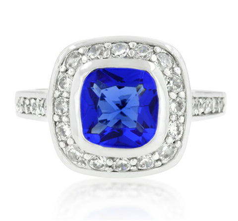 Haletta Sapphire Blue CZ Classic  Halo Ring | 2.5ct | Cubic Zirconia | Silver