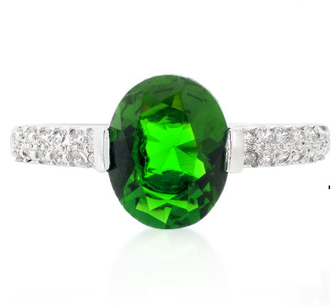Harla Emerald Green Oval Cut Solitaire Engagement Ring | 3  Carat | Cubic Zirconia - Beloved Sparkles  - 1