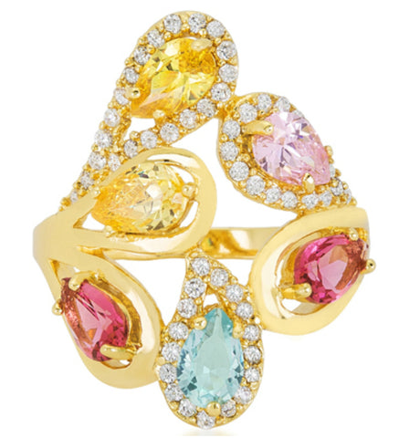 Izebe Multi Color Cluster Gold Cocktail Ring  | 5 Carat | 18k Gold | Cubic Zirconia - Beloved Sparkles  - 3