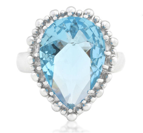 Jasna Solitaire Blue Topaz Cocktail Ring | 8ct | Cubic Zirconia - Beloved Sparkles  - 3