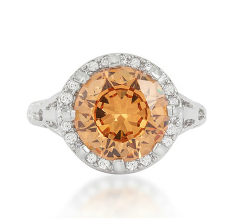 Kavita Round Champagne Halo Cocktail Ring  | 5ct | Cubic Zirconia | Silver