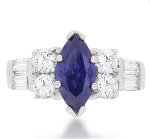 Keitha Tanzanite Purple Elegant Cocktail Ring | 5ct | Cubic Zirconia | Silver