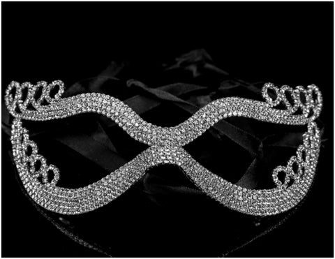 Kinza Crystal Loops Silver Masquerade Mask | Silver | Crystal - Beloved Sparkles  - 3