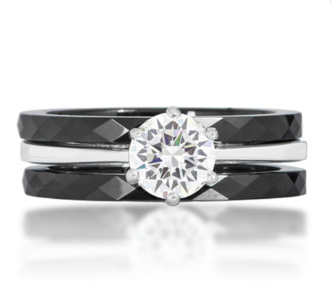 Mazie Three Ring Black Ceramic  Engagement Ring Set | 0.5ct | Cubic Zirconia | Sterling Silver - Beloved Sparkles