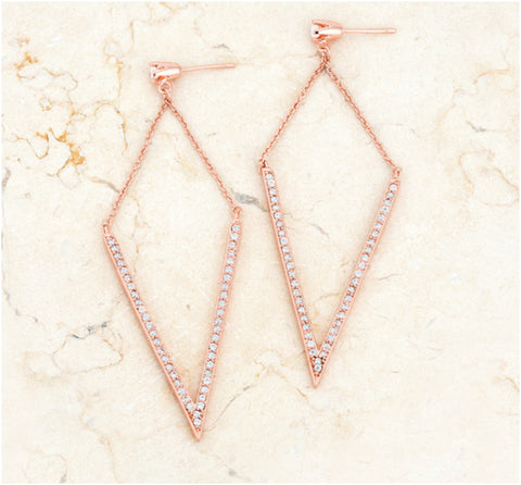 Michelle Delicate Pointed Drop Rose Gold Dangle Earrings | 1.2ct | Cubic Zirconia | Rose Gold - Beloved Sparkles
