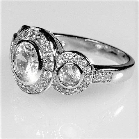 Nikki Triplet Round Halo Engagement Anniversary Ring | 7ct | Cubic Zirconia