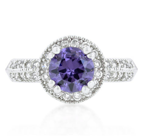 Orene Amethyst Round Halo Engagement Ring | 3ct | Cubic Zirconia - Beloved Sparkles  - 3