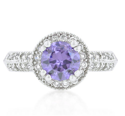 Orene Lt Amethyst Round Halo Engagement Ring | 4ct | Cubic Zirconia - Beloved Sparkles  - 3