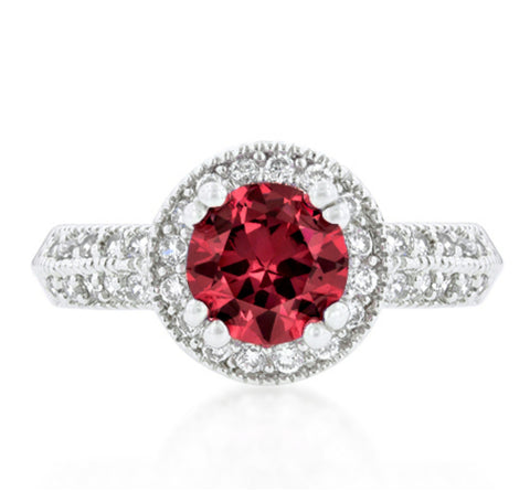 Orene Ruby Round Halo Engagement Ring | 3ct | Cubic Zirconia - Beloved Sparkles  - 3