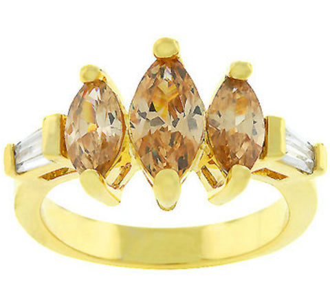 Otina Triple Marquise Champagne Gold Ring | 2.5ct |Cubic Zirconia | 18k Gold