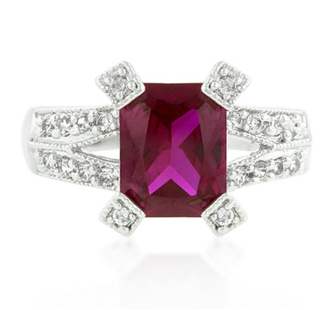 Petrine Radiant Cut Ruby Fashion Ring  | 5.5ct | Cubic Zirconia - Beloved Sparkles  - 3