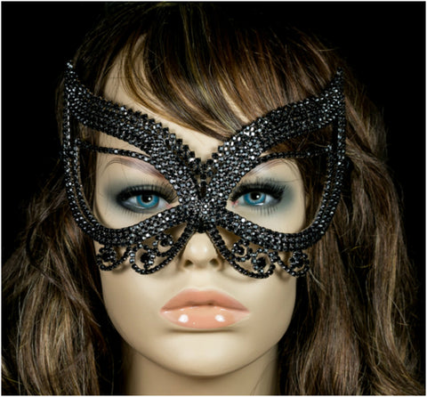 Pirene Exquisite Butterfly Masquerade Mask | Black | Crystal - Beloved Sparkles  - 3