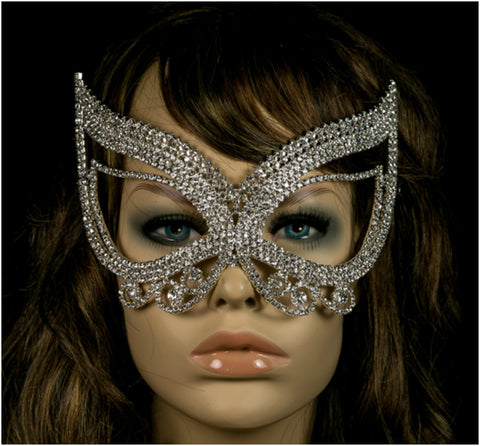 Pirene Exquisite Butterfly Masquerade Mask | Silver | Crystal - Beloved Sparkles  - 3