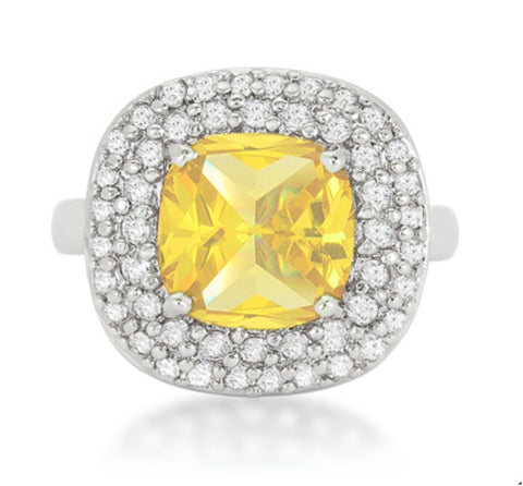 Regina Canary Yellow Cushion Cut Cocktail Ring | 5 Carat | Cubic Zirconia - Beloved Sparkles  - 3