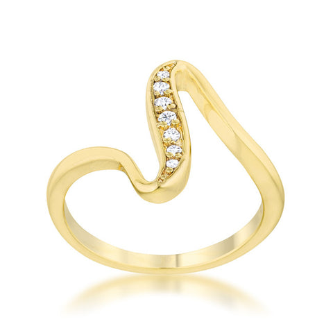 Sheryl 14k Gold Simple Wave Fashion  Ring | .3 Carat | Cubic Zirconia - Beloved Sparkles  - 2