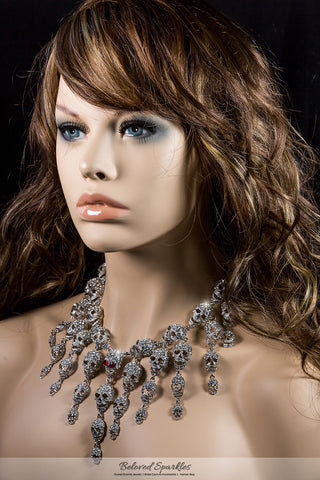 Skulls Cluster Clear Diamond Silver Goth Fashion Necklace | Crystal - Beloved Sparkles  - 3