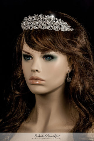 Azalea Crystal Flower Silver Tiara | Swarovski Crystal - Beloved Sparkles  - 3