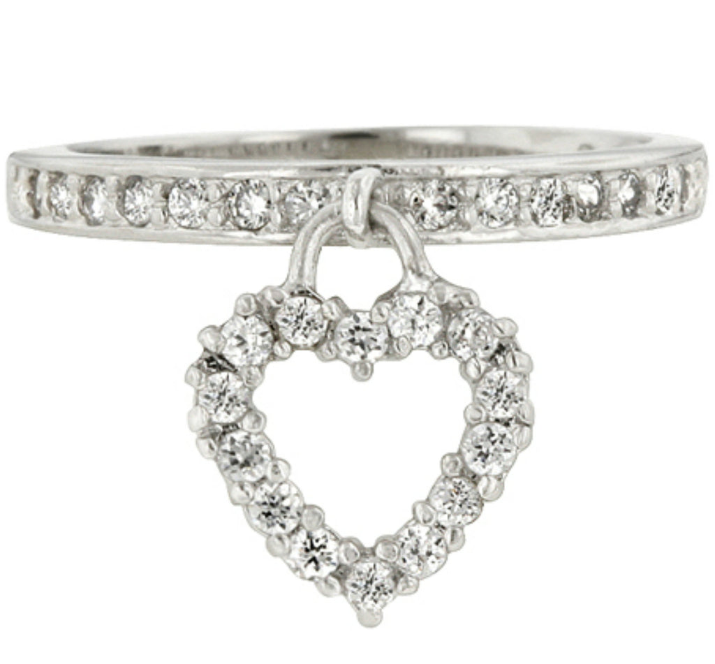 Trella Simple Heart Charm Fashion Ring | 1ct | Cubic Zirconia | Silver