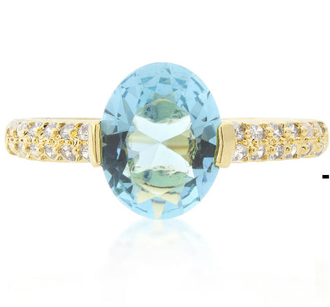 Harla Aqua Blue Oval Cut Gold Ring |2.2ct |Cubic Zirconia | 18k Gold - Beloved Sparkles  - 1