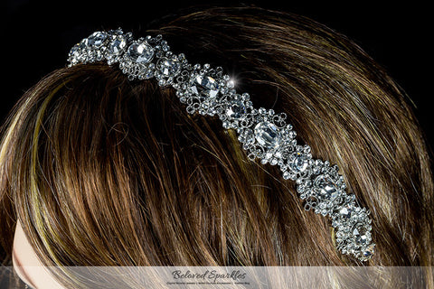 Kylie Oval Cluster Silver Headband | Swarovski Crystal - Beloved Sparkles  - 3