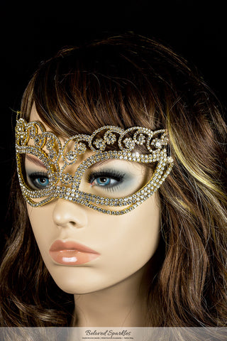 Francine Flower Gold Masquerade Mask | Crystal - Beloved Sparkles