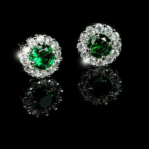 Belle Emerald Green Halo Stud Earrings