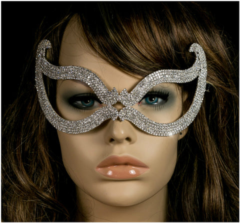 Bijou Romantic Cat Eye Crystal Masquerade Mask | Silver | Crystal - Beloved Sparkles  - 2