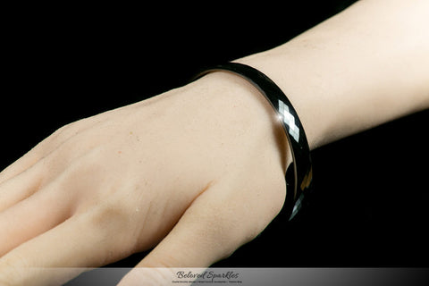 Laurette Black Hematite Ceramic Bangle Bracelet  | Ceramic - Beloved Sparkles  - 4