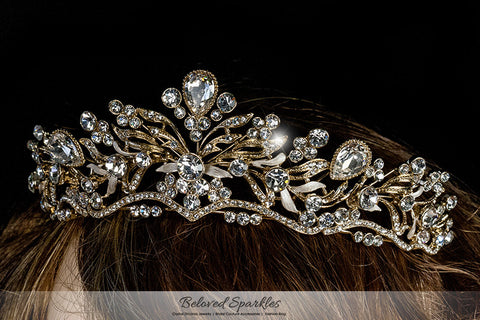 Sabella Victorian Art Deco Gold Tiara | Swarovski Crystal - Beloved Sparkles  - 4