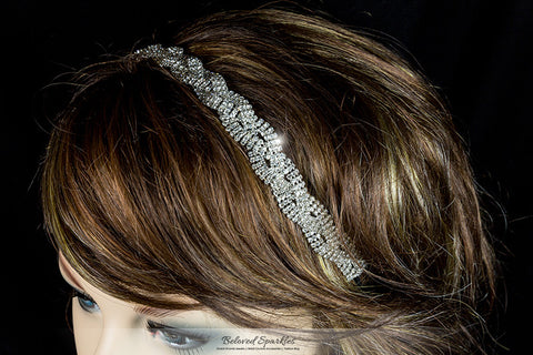 Dicey Rhinestone Twist Braid Stretchable Headband | Rhinestone - Beloved Sparkles  - 4