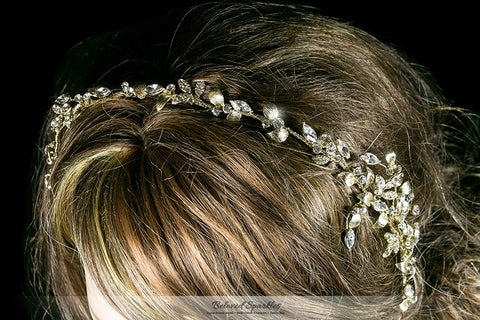 Trista Gold Leaf Hair Tie Headband | Gold | Swarovski Crystal - Beloved Sparkles  - 4