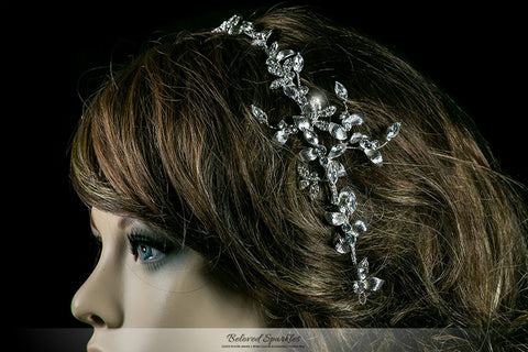 Trista Silver Leaf Hair Tie Headband | Swarovski Crystal - Beloved Sparkles  - 4