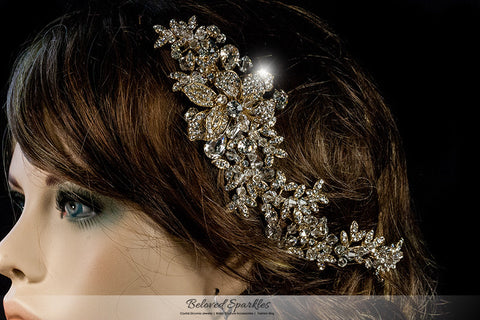 Lizabeth Ila Long Floral Cluster Gold Hair Clip | Swarovski Crystal - Beloved Sparkles  - 4