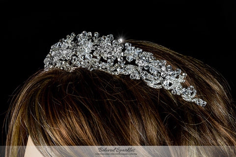 Leda Cluster Statement Silver Tiara | Swarovski Crystal - Beloved Sparkles  - 4
