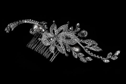 Trina Flower Twine Hair Comb | Swarovski Crystal - Beloved Sparkles  - 4