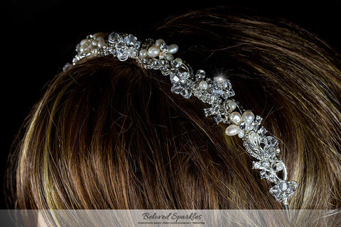 Eva Floral Cream Pearl Silver Headband | Swarovski Crystal - Beloved Sparkles  - 4