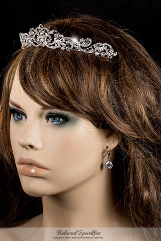 Brianna Romantic Royal Silver Tiara | Swarovski Crystal - Beloved Sparkles  - 4