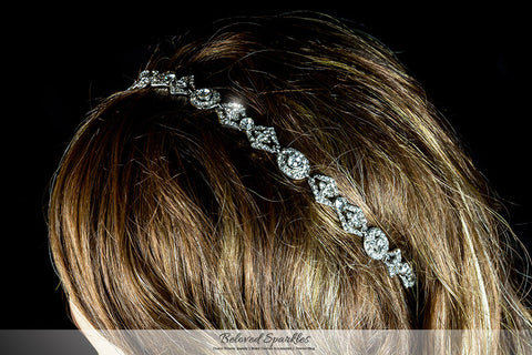 Rena Vintage Silver Hair Tie Headband | Swarovski Crystal - Beloved Sparkles  - 4