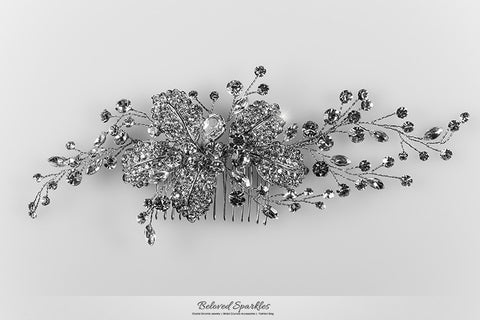 Mandy Leaf Spray Cluster Hair Clip | Swarovski Crystal - Beloved Sparkles