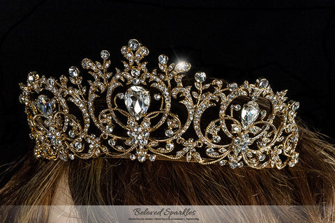 Lucia Victoria Statement Gold Tiara | Swarovski Crystal - Beloved Sparkles  - 4
