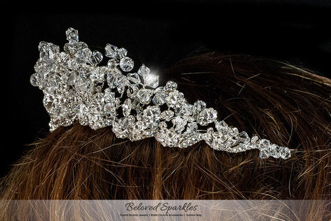 Madison Garden Cluster Silver Tiara | Swarovski Crystal - Beloved Sparkles  - 4